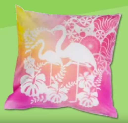 Schablonieren mit Fashion-Spray z.B. Flamingo-Kissen